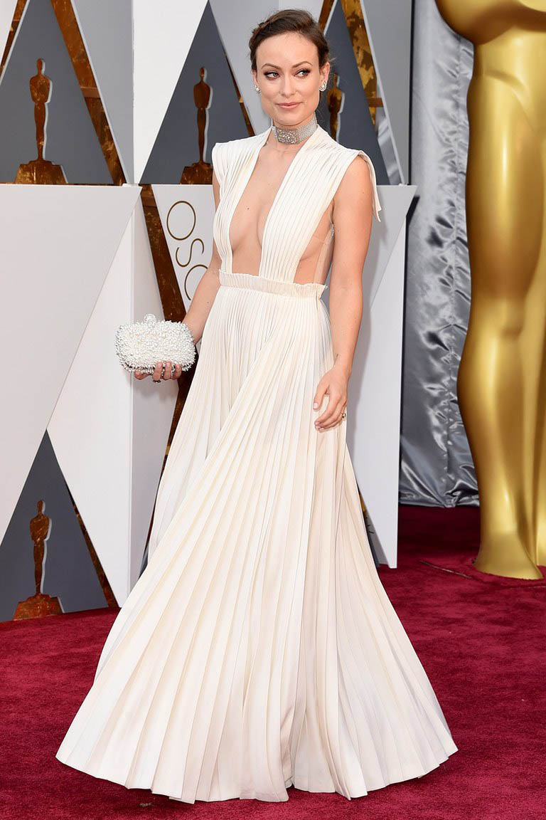 Olivia wilde pleated white celebrity prom dress 2016 oscars red carpet starcelebritydresses - Red carpet oscar dresses ...