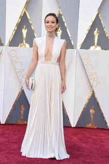 Olivia Wilde Pleated White Celebrity Prom Dress 2016 Oscars Red Carpet