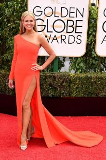one sleeve orange prom dress golden globes