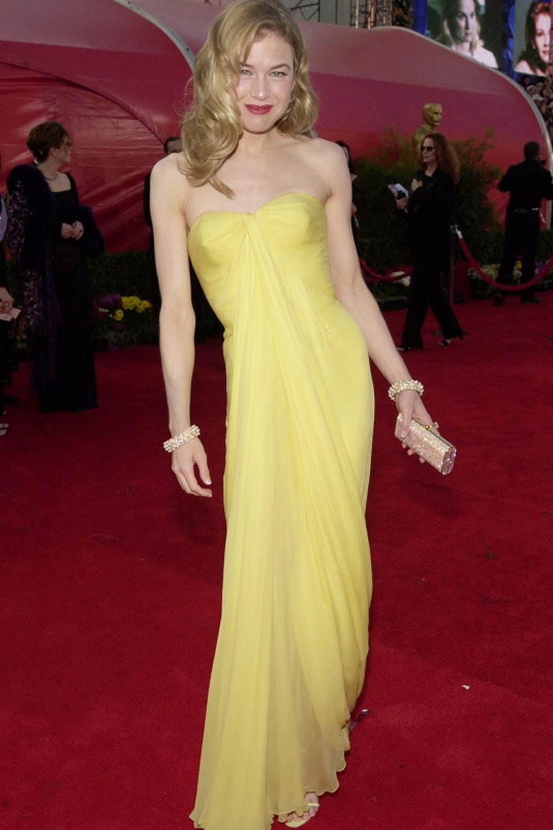 renee zellweger vintage slim yellow celebrity evening dress academy awards