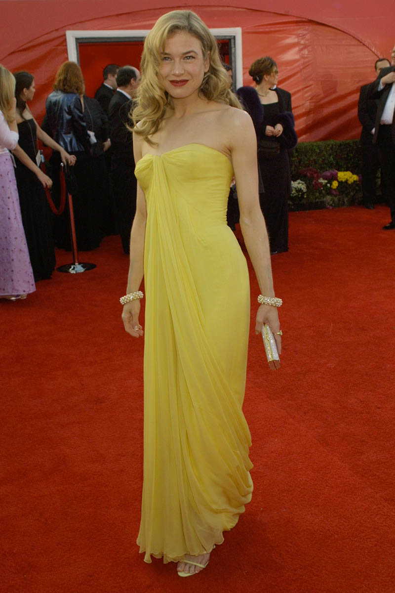 renee zellweger vintage slim yellow celebrity evening dress