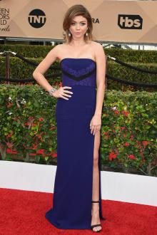 sarah hyland strapless straight neck slim a line blue dress sag awards