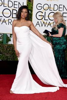 taraji henson white slim prom dress golden globes 2016 red carpet
