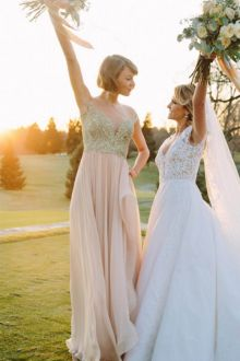 taylor swift bridesmaid dress lace and chiffon celebrity wedding party dress