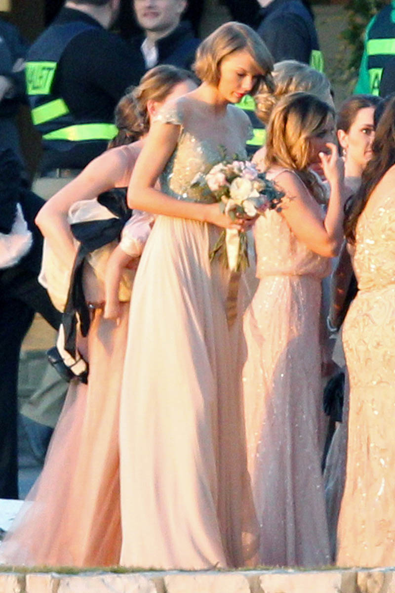 Taylor swift bridesmaid dress lace and chiffon celebrity for Dresses for wedding party