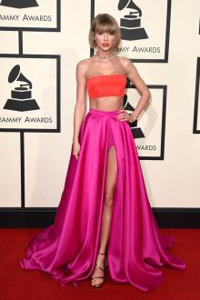 taylor swift two piece celebrity prom dress impression grammys 2016 red carpet