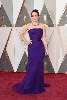 Tina Fey Strapless Purple Chiffon Formal Dress Oscars 2016 Red Carpet