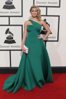 tori kelly green satin one shoulder prom dress grammys 2016 red carpet